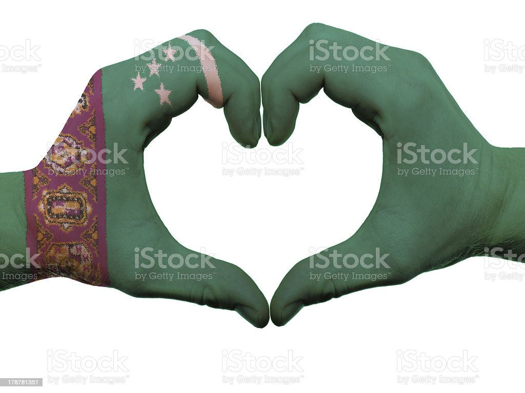 Heart and love gesture in turkmenistan flag colors by hands stock photo