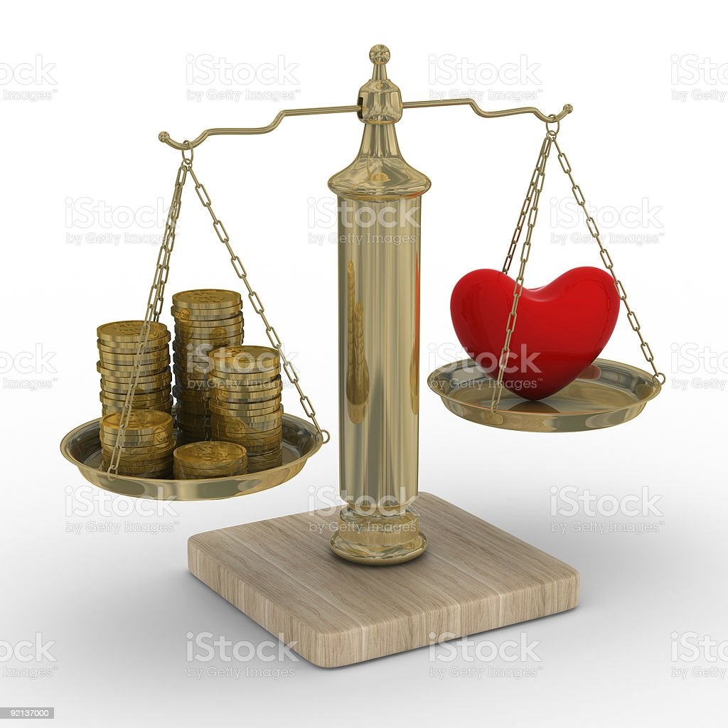 Heart and money for scales. Isolated 3D image. royalty-free stock photo