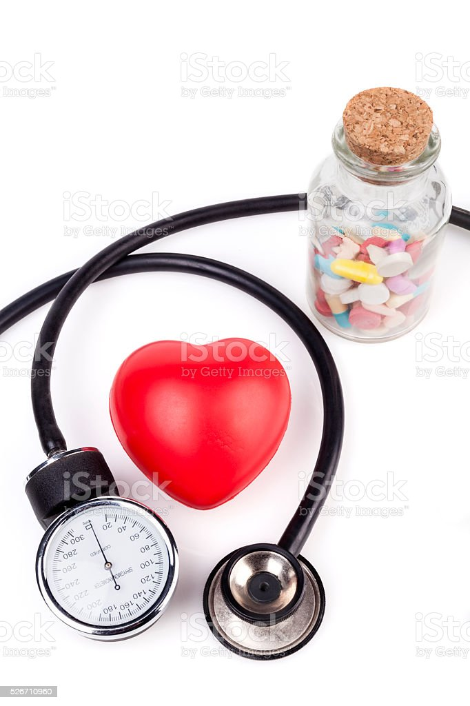 Heart and Pills stock photo