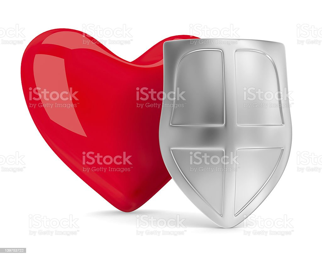 heart and shield on white. Isolated 3D image royalty-free stock photo