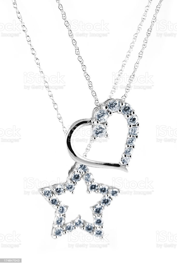 heart and star diamond necklace isolated royalty-free stock photo