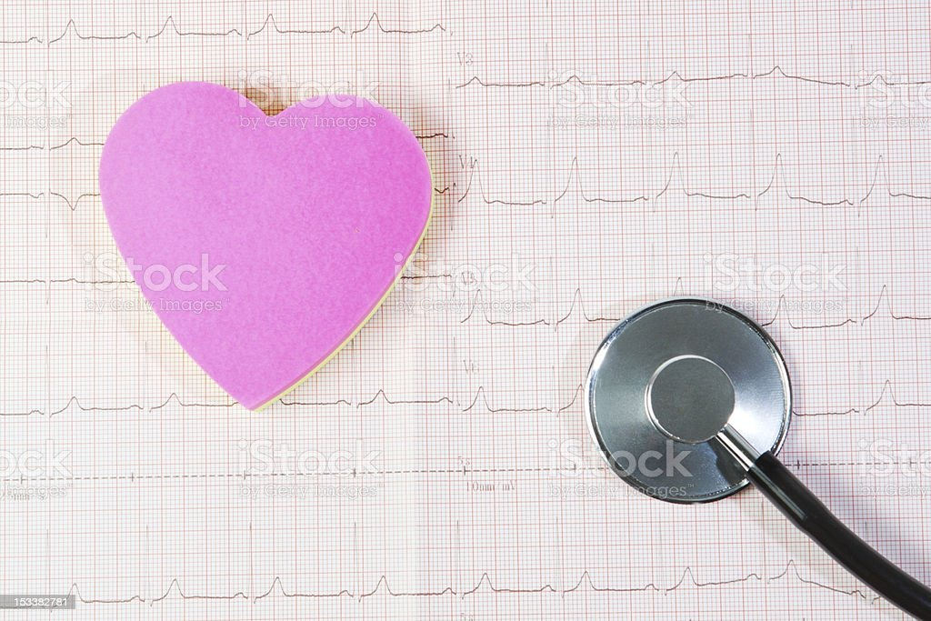 Heart and stethoscope against a background of cardiogram. royalty-free stock photo