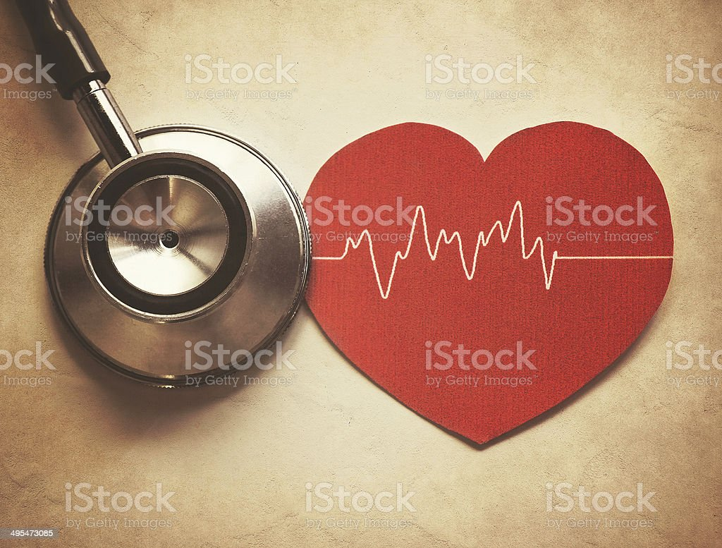 heart and stethoscope stock photo