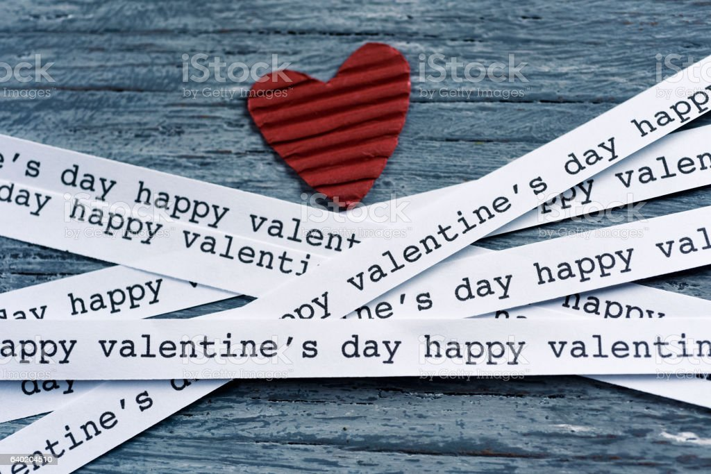 heart and text happy valentines day stock photo