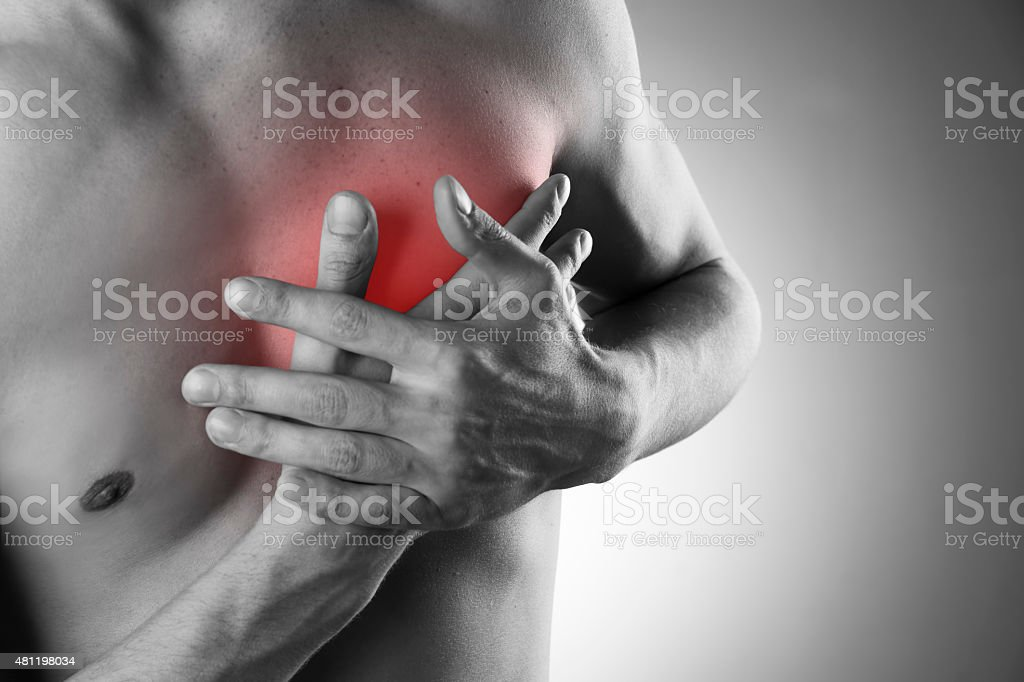 Heart attack. Pain in the human body stock photo