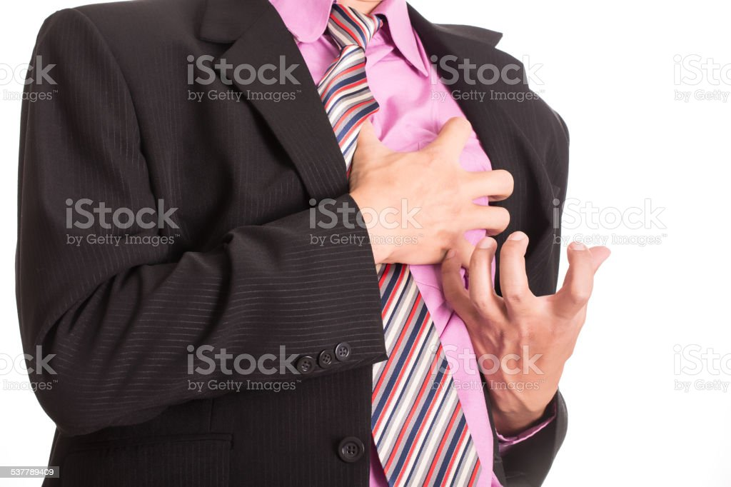 Heart Attack ,Use hand grabbing a chest stock photo