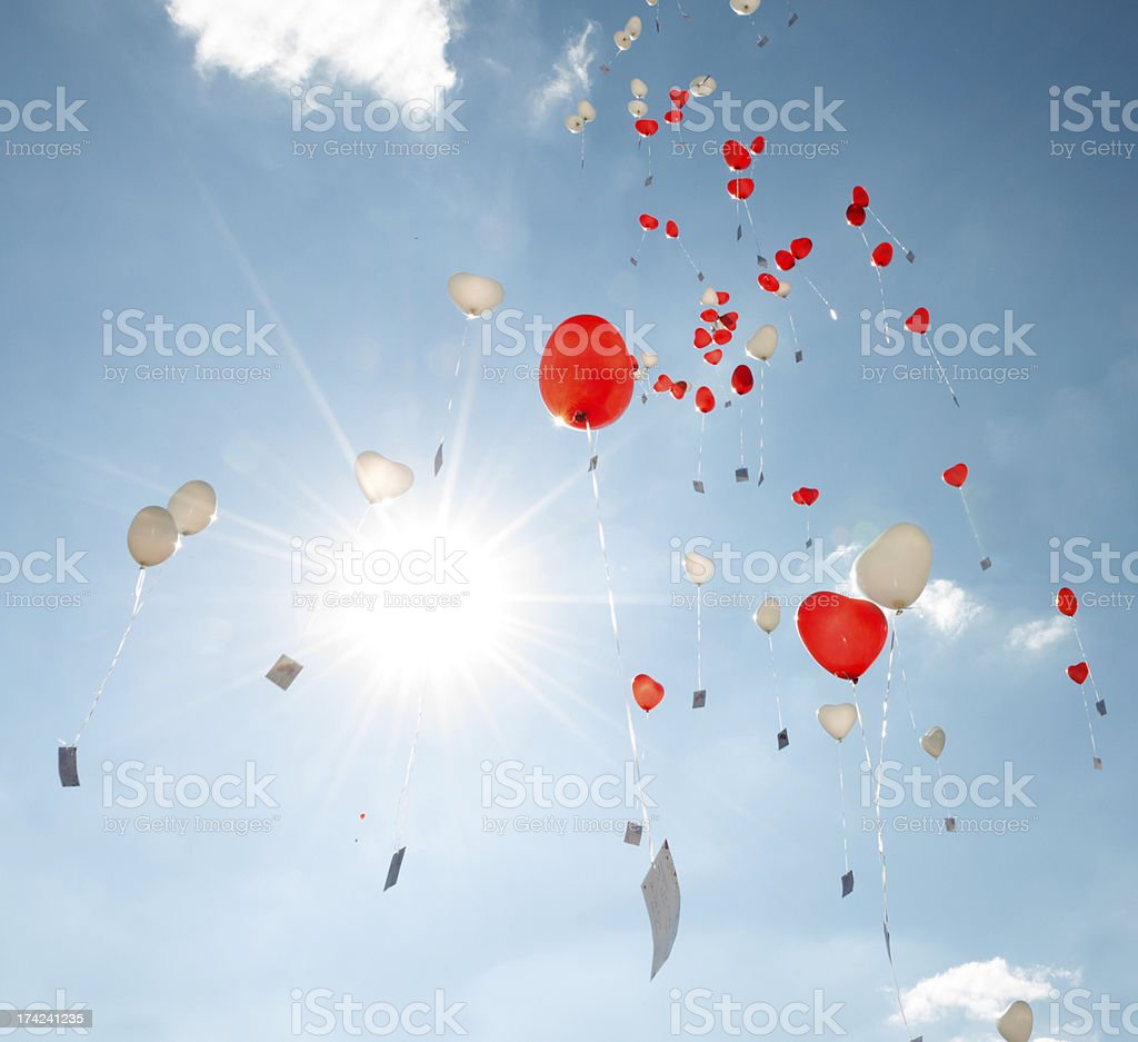 Heart Balloons Flying in the Sky royalty-free stock photo