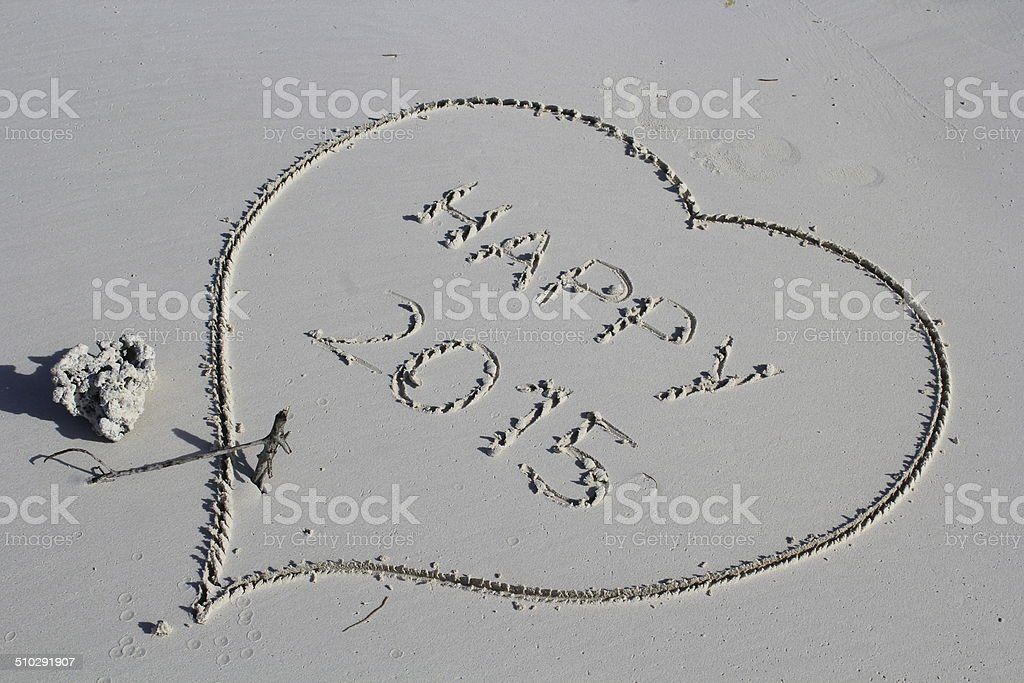 Heart, beach, happy new year, 2015 stock photo