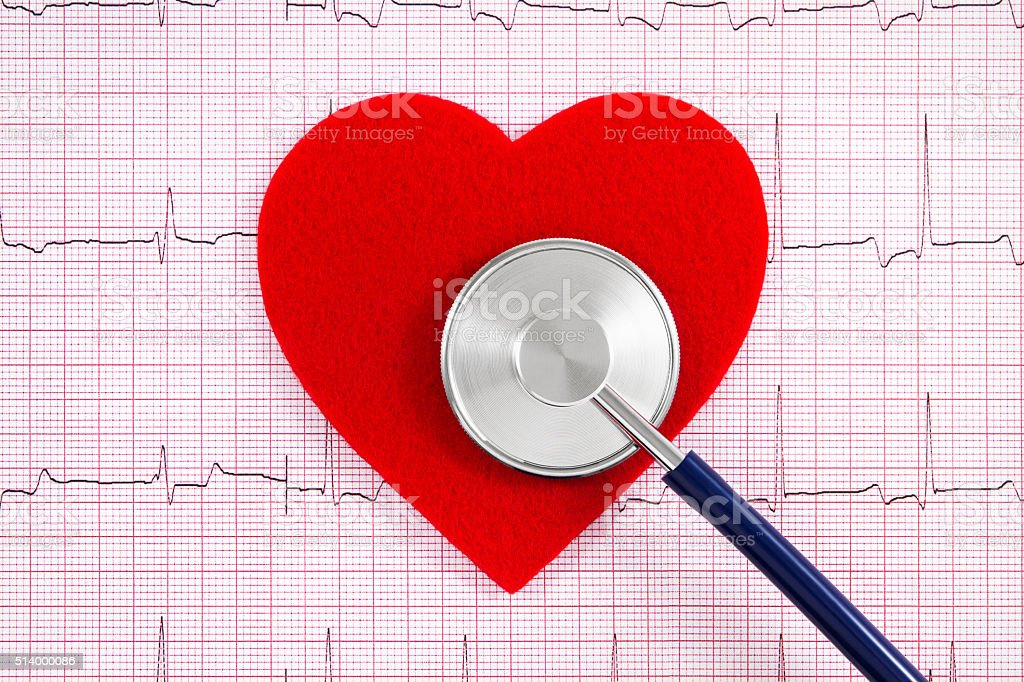 Heart Beat Cardiogram with Stethoscope stock photo
