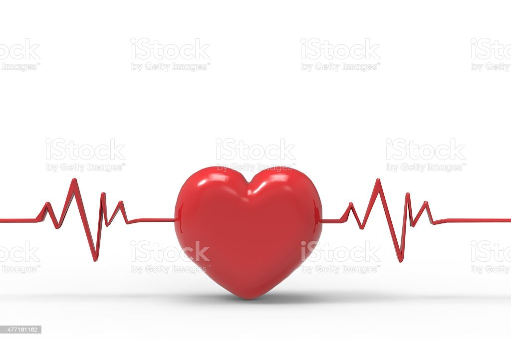 heart beat with pulse trace stock photo