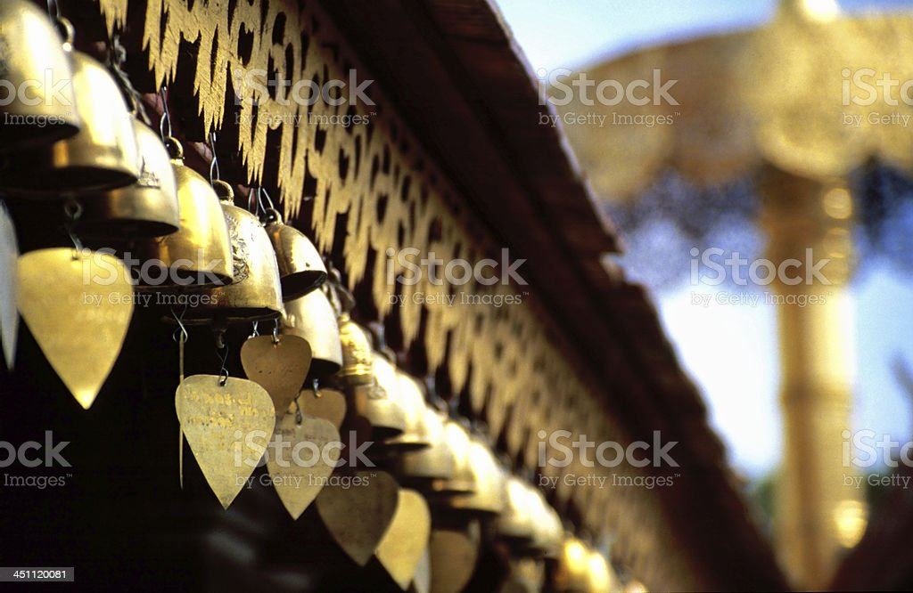 Heart bells at Buddhist temple stock photo