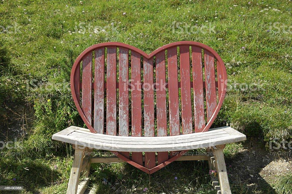 Heart bench stock photo