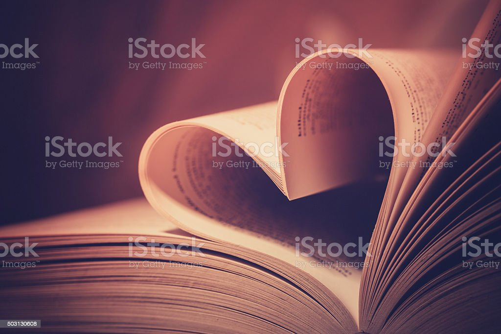 Heart book page - vintage effect style pictures stock photo