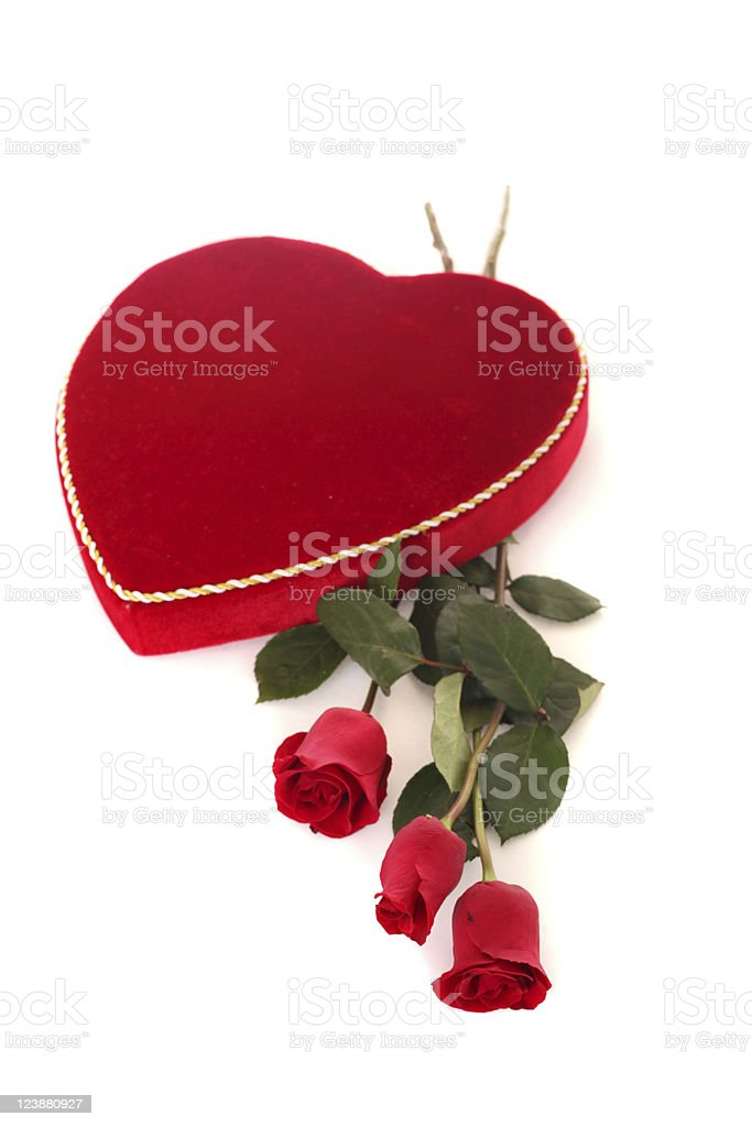 heart box with roses stock photo