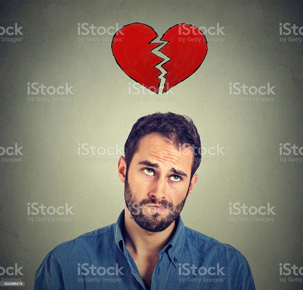 Heart broken man stock photo