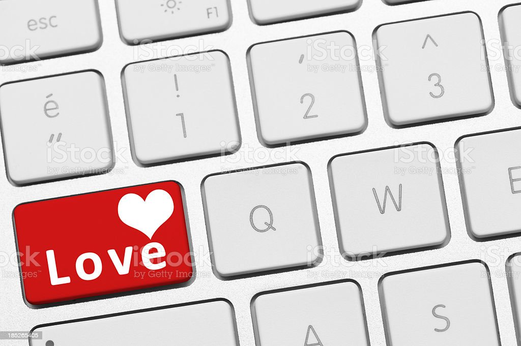 Heart button on keyboard royalty-free stock photo