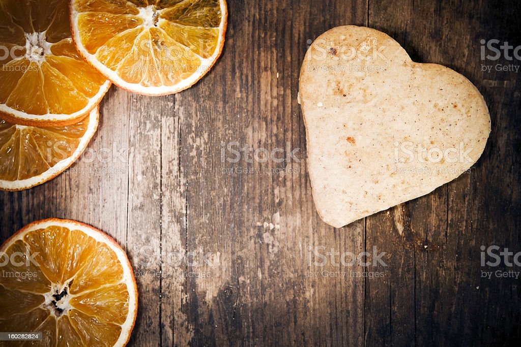 Heart cake made of rustic wood shop. royalty-free stock photo