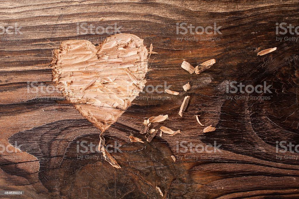 Heart carved stock photo