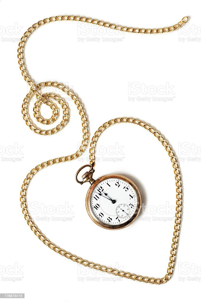 Heart chain with old pocket watch isolated on white background stock photo
