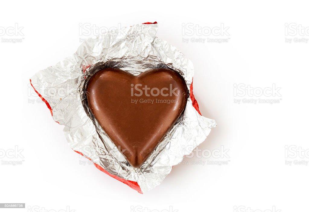 Heart chocolate on white stock photo