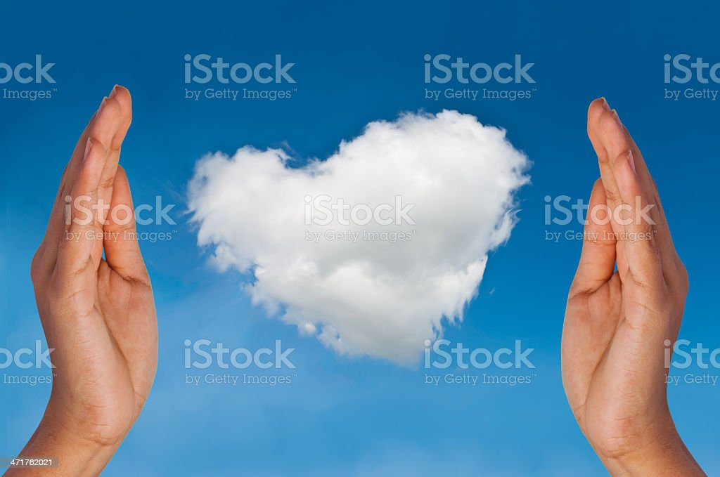 Heart cloud by hands royalty-free stock photo