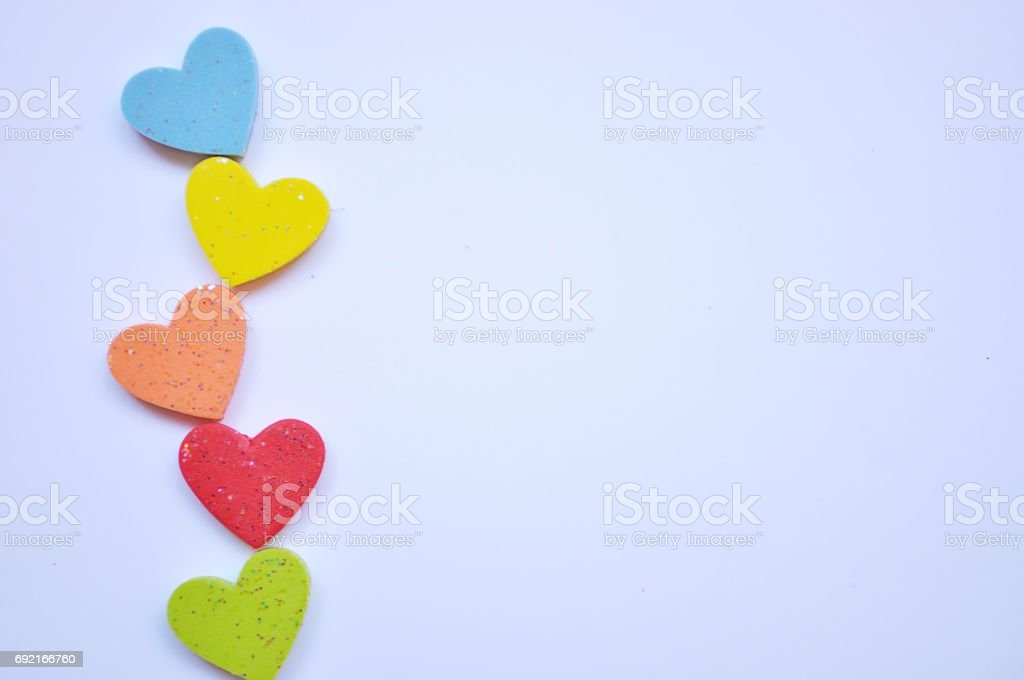 Heart colorful on white background stock photo
