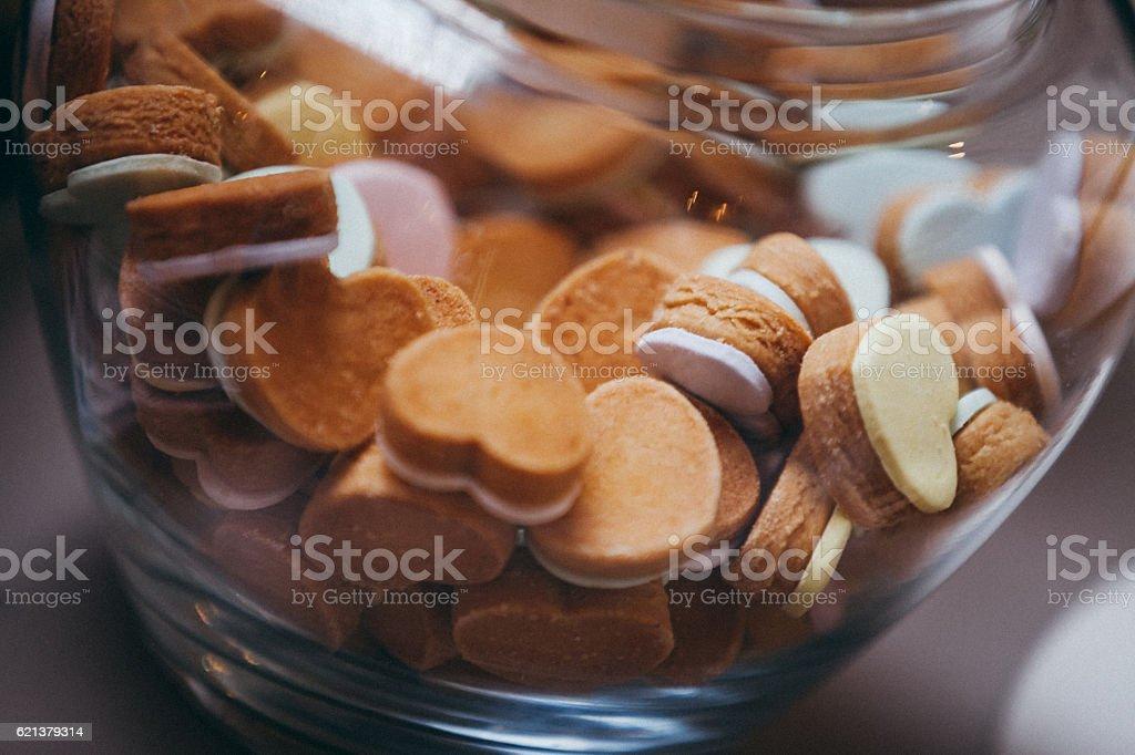 Heart cookies in jar stock photo