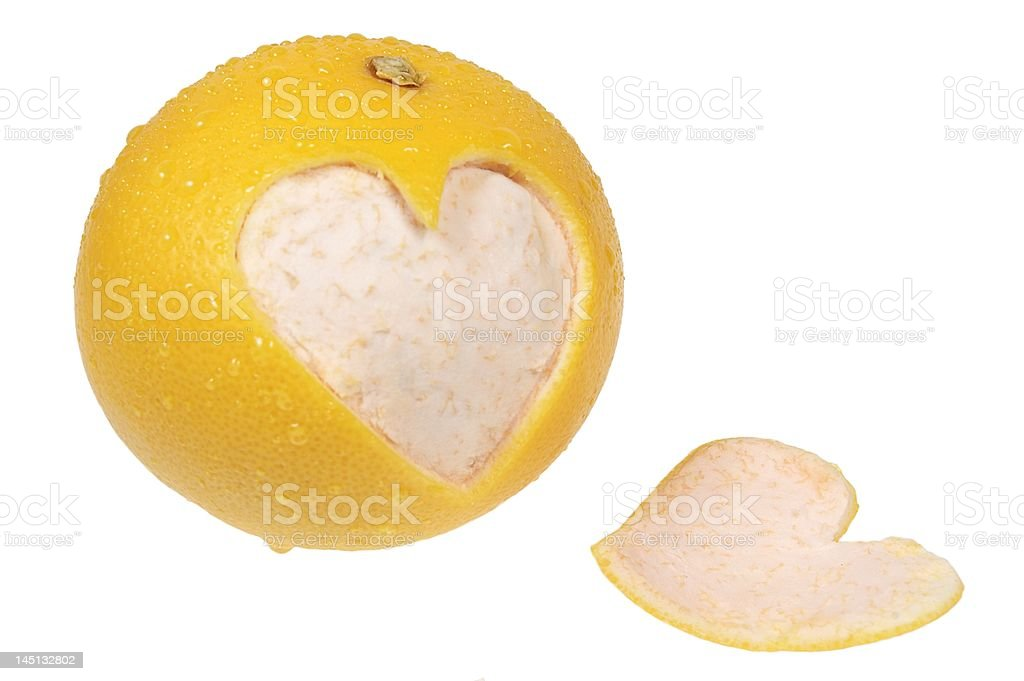Heart cut out from orange royalty-free stock photo