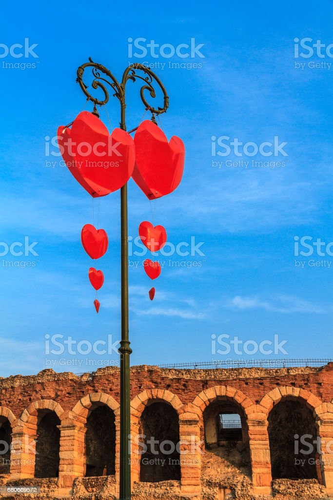 Heart decorations for the Valentine's Day in Verona, Italy stock photo