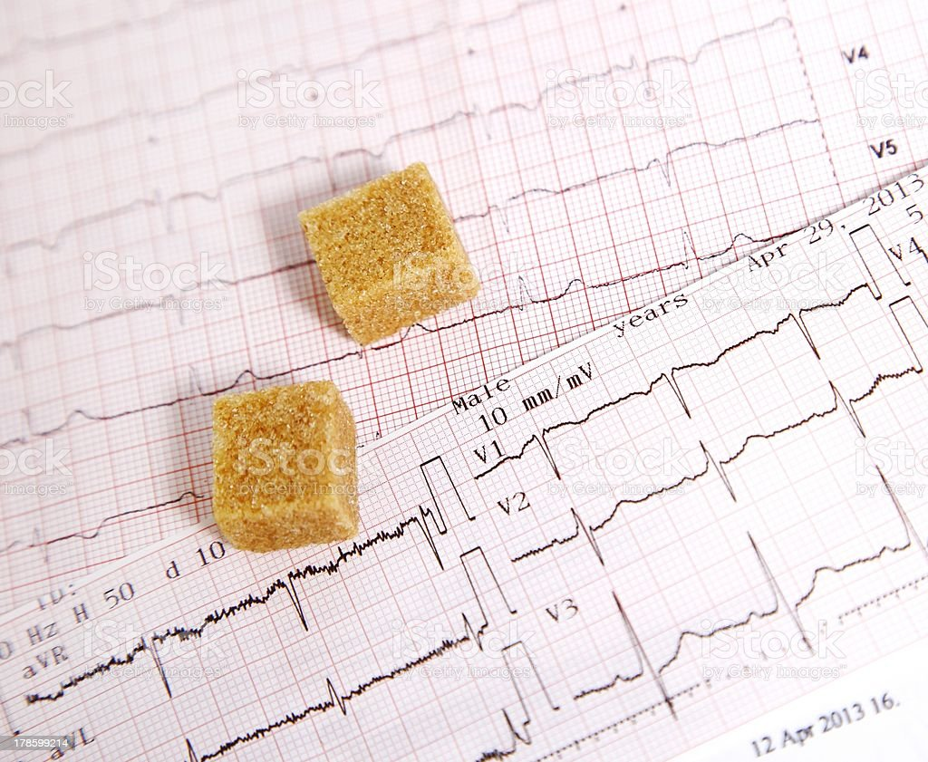 Heart disease caused by sugar stock photo