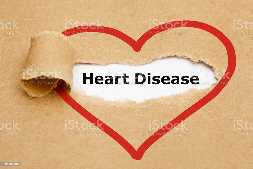 Heart Disease Torn Paper stock photo
