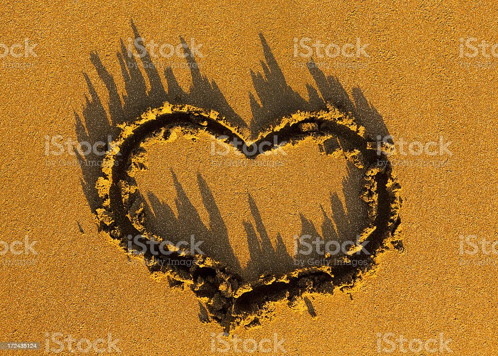 heart drawn in a sand royalty-free stock photo