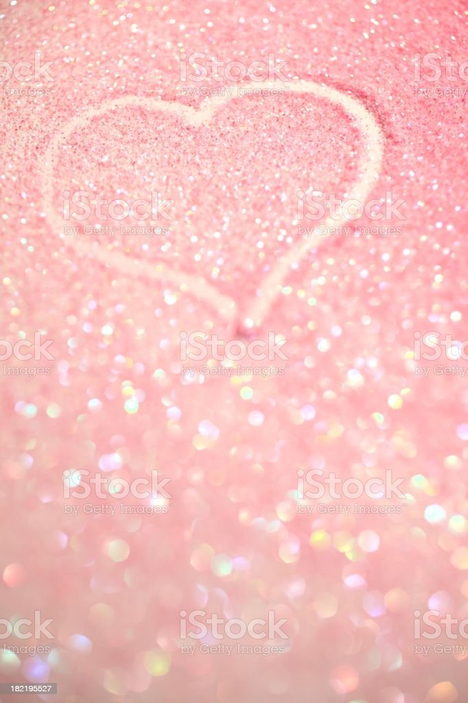 Heart Drawn in Pink Sparkle royalty-free stock photo