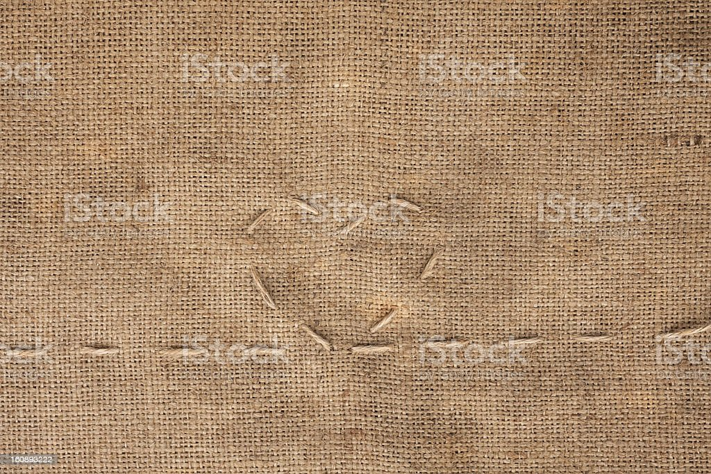 Heart embroidered on sackcloth royalty-free stock photo