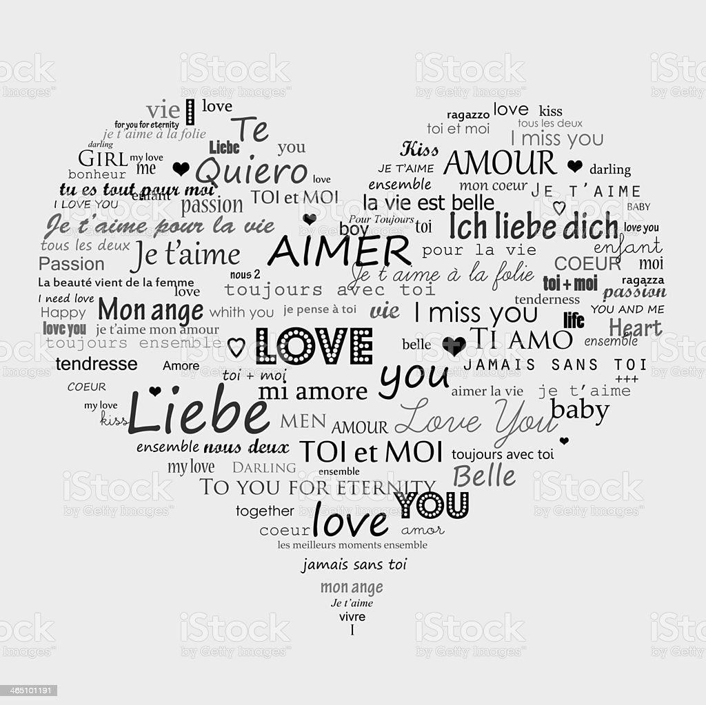 A heart filled with words that mean love stock photo