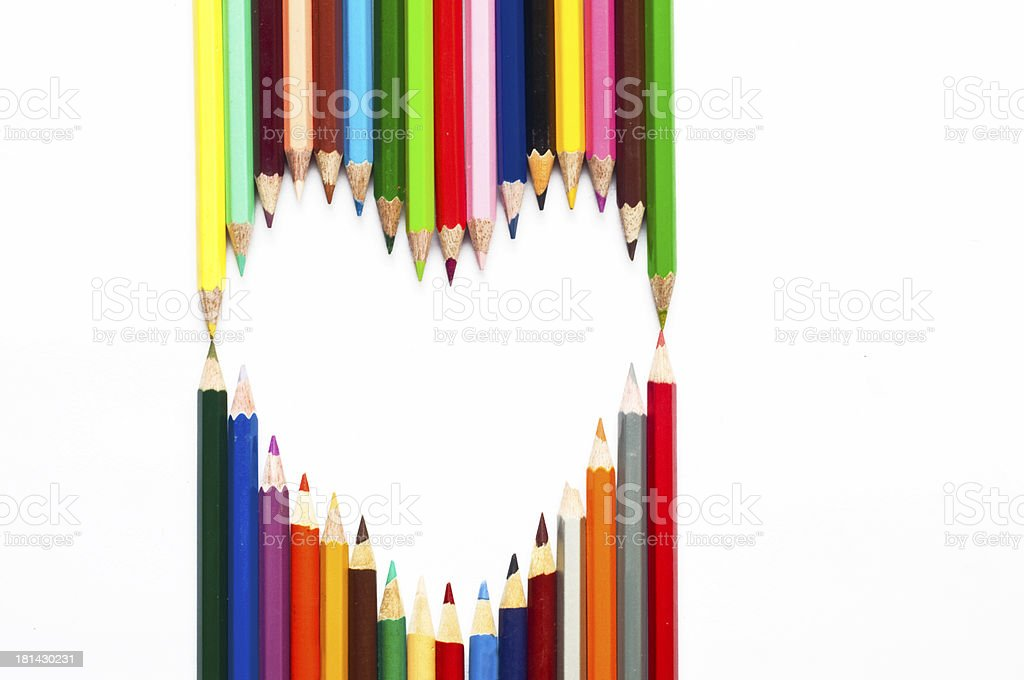 Heart frame made with Colored Pencils royalty-free stock photo