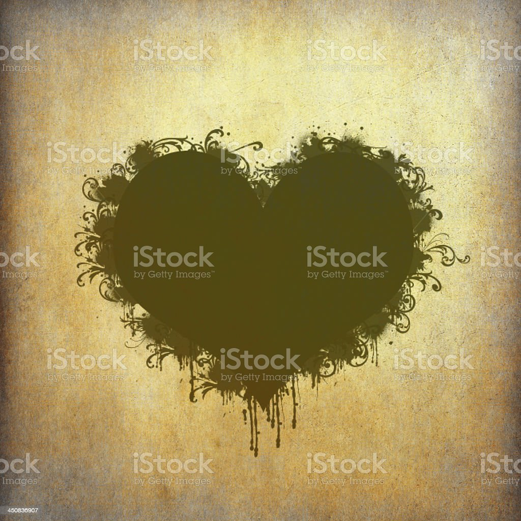 Heart frame stained on old grunge paper royalty-free stock photo