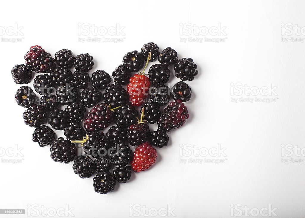 Heart from blackberry. royalty-free stock photo