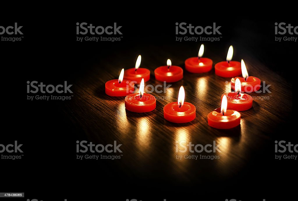 Heart from candles stock photo