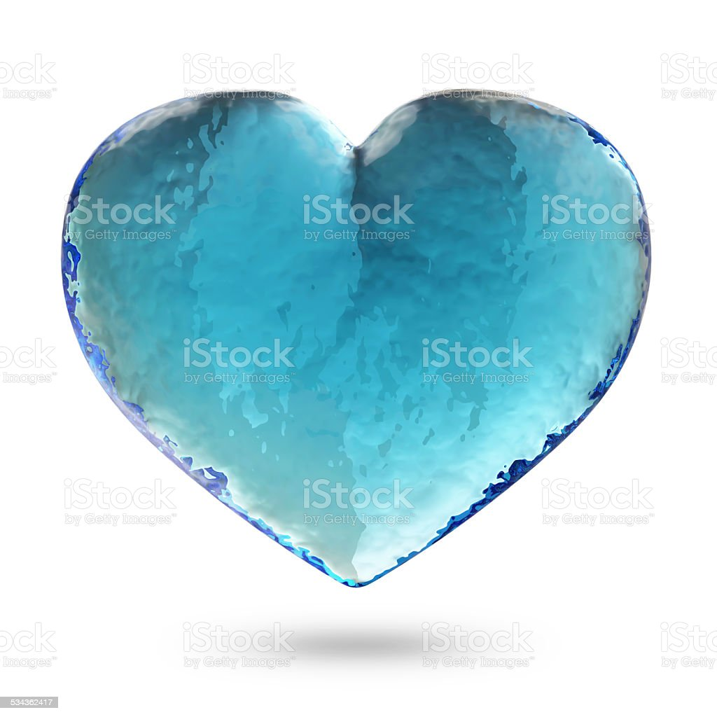 Heart from Water isolated on white background stock photo