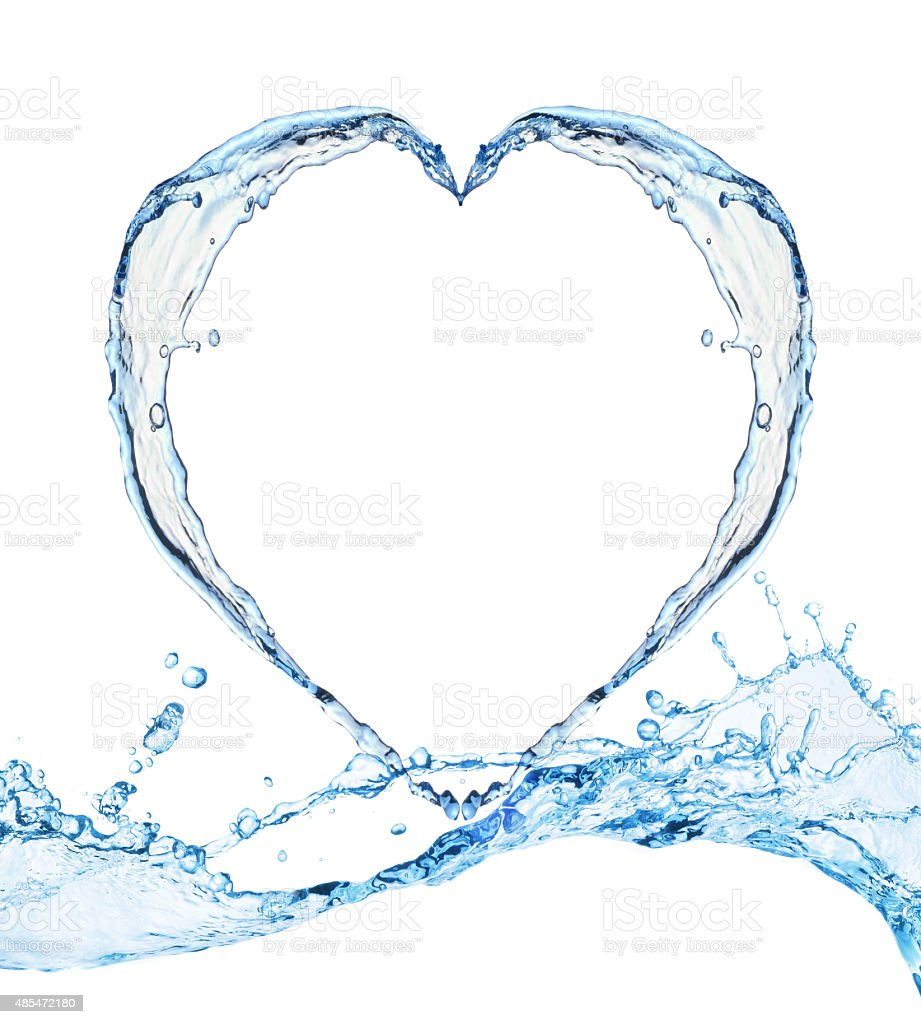Heart from water splash isolated on white background stock photo