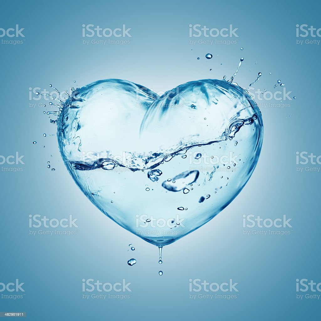 Heart from water splash with wave, inside isolated on white stock photo