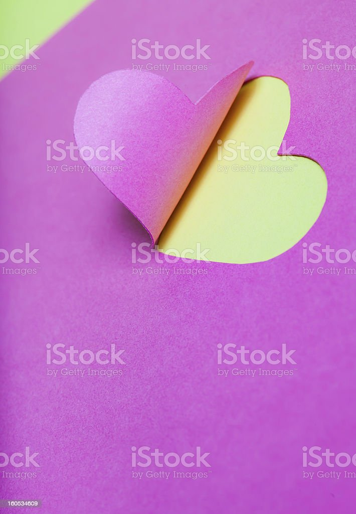 Heart Half-Cut From Pink Paper royalty-free stock photo