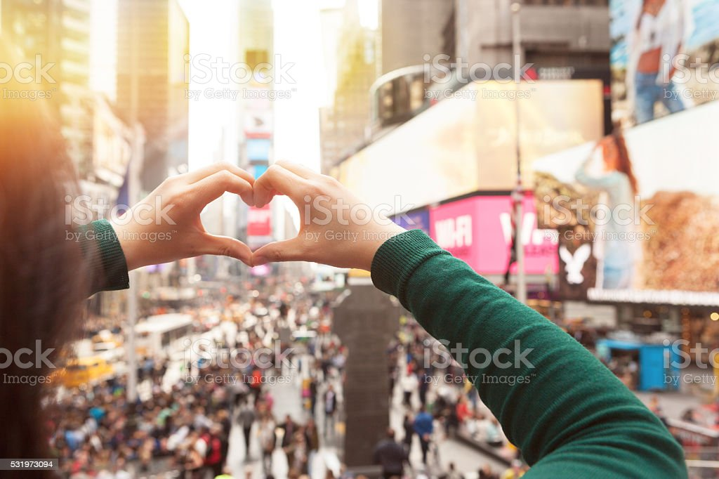 Heart hands in Times square New York stock photo