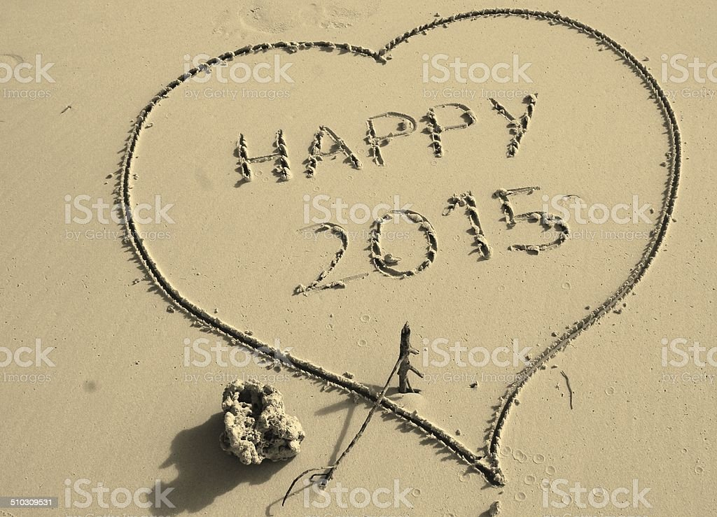 Heart, happy new year, 2015 stock photo