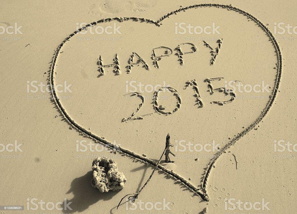 Heart, happy new year, 2015 stock photo