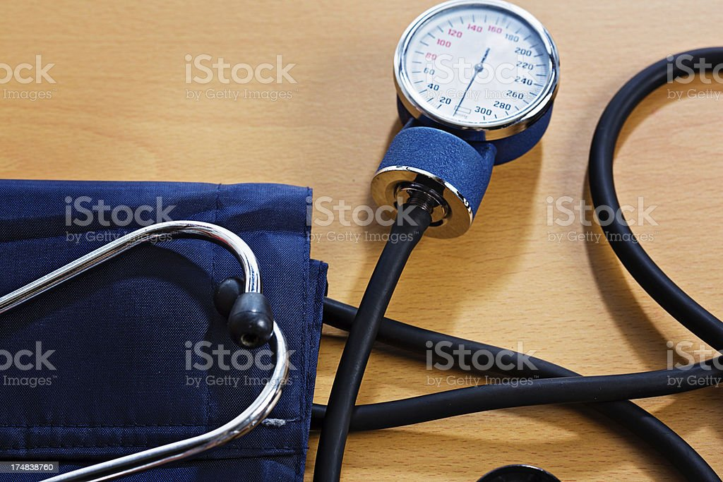 Heart health check-up: blood pressure gauge ready to measure royalty-free stock photo