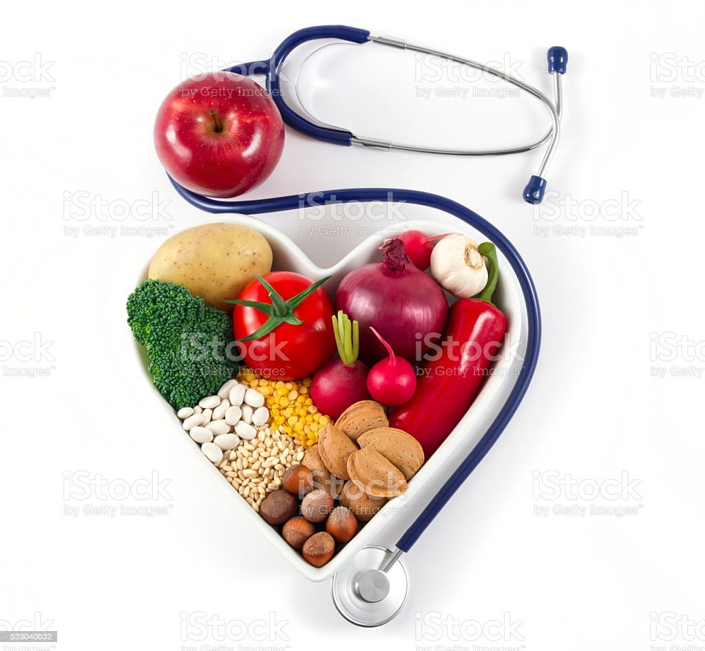 Heart Health with Healthy Foods and Stethoscope stock photo