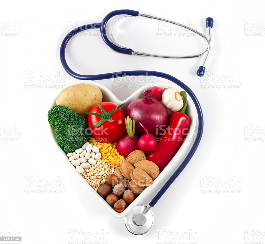 Heart Health with Healthy Foods stock photo