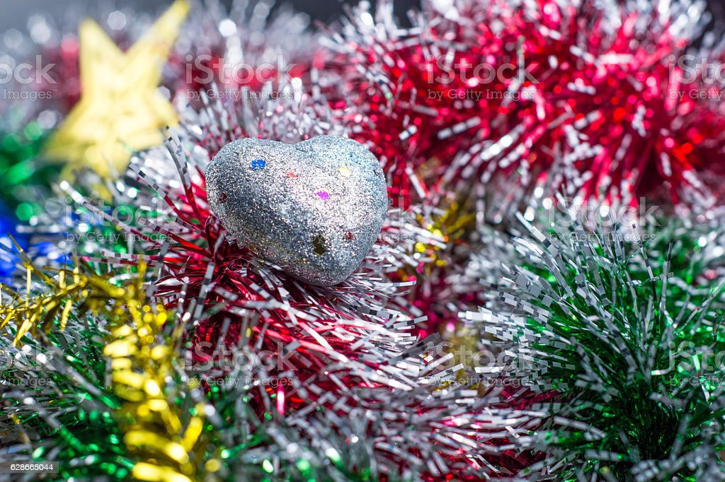 Heart icon on christmas decoration royalty-free stock photo